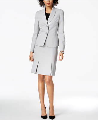 Le Suit Herringbone Pleated Skirt Suit
