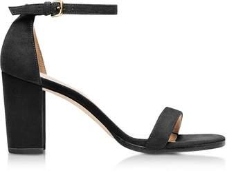 Stuart Weitzman Nearlynude Black Suede Heel Sandals