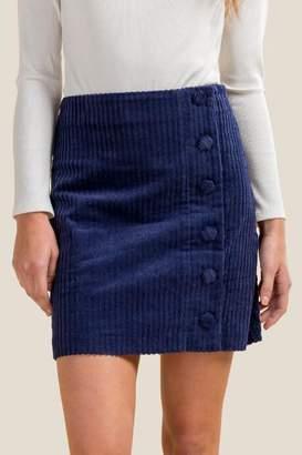 francesca's Lex Buttoned Corduroy Skirt - Navy