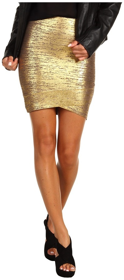 BCBGMAXAZRIA Silvie Foil Print Skirt (Brown Ash Gold Combo) - Apparel