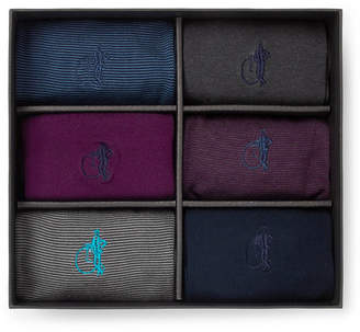 Co London Sock Simply Sartorial Six-Pack Stretch Cotton-Blend Socks
