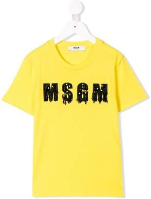 MSGM Kids beaded logo T-shirt