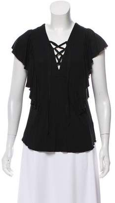 Ella Moss Ruffle-Accented Lace-Up Top w/ Tags