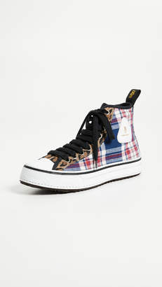R 13 High Top Cotton Sneakers