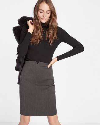 Express Petite High Waisted Notch Front Pencil Skirt
