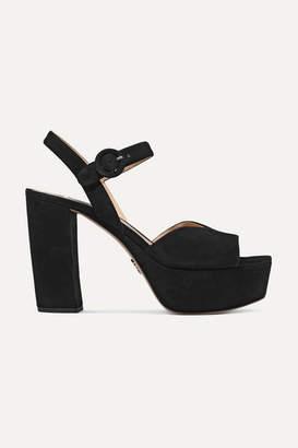 Prada 105 Suede Platform Sandals - Black