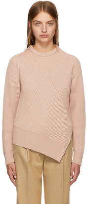 Cédric Charlier Pink Wool Asymmetric Sweater