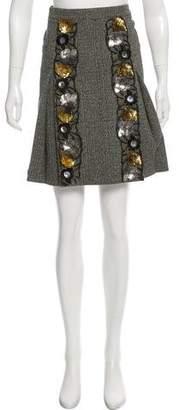 Miu Miu Embellished Wool-Blend Skirt