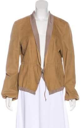 Brunello Cucinelli Leather Shawl Collar Jacket