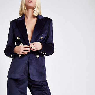 River Island Navy velvet double breasted blazer