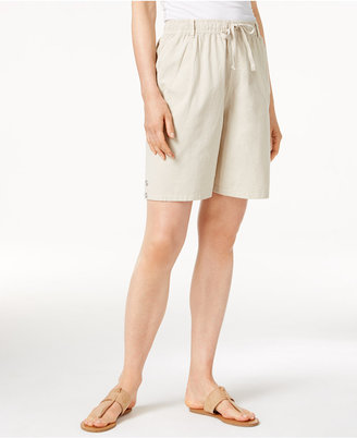 Karen Scott Lisa Pull-On Cotton Shorts, Only at Macy's $32.50 thestylecure.com
