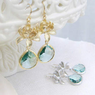 EVY Designs Lotus Blossom Glass Droplet Earring