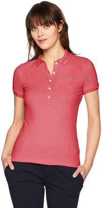 Lacoste Women's Classic Short Sleeve Slim Fit Stretch Pique Polo, PF745