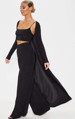 PrettyLittleThing Black Slinky Longline Jacket