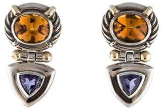 David Yurman Citrine & Iolite Clip On Earrings