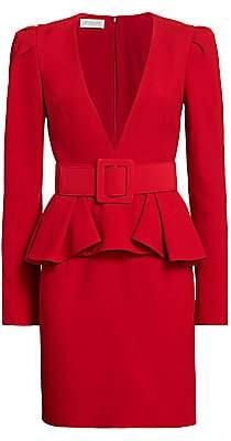 Michael Kors Women's Plunge-Front Belted Peplum Dress