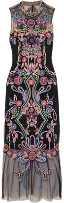 Marchesa Beaded Embroidered Tulle Midi Dress - Black