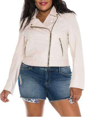 SLINK Jeans Crop Leather Moto Jacket