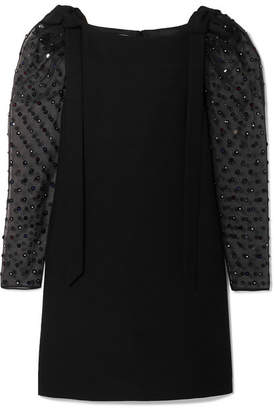Valentino Embellished Wool And Silk-blend Crepe And Silk-organza Mini Dress - Black
