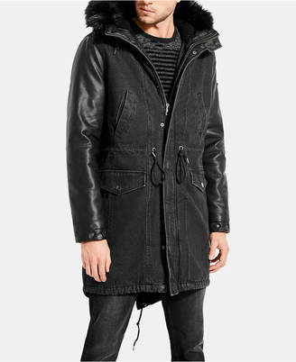 GUESS Men Denim Fishtail Parka with Faux Leather Sleeves and Hood