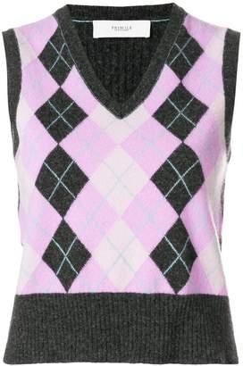 Pringle sleeveless Argyle intarsia sweater