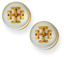 Tory Burch Pearly Logo Stud Earrings