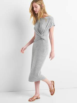 Gap Softspun Midi T-Shirt Dress with Twist-Knot Detail