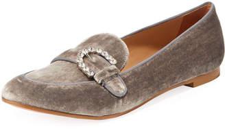 Aquazzura Montaigne Velvet Moccasin Loafers