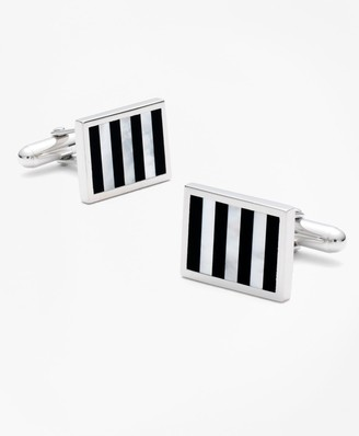 Brooks Brothers Onyx and Mother-of-pearl Silver Cuff Links