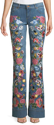 Alice + Olivia AO.LA by Alice+Olivia Ryley Floral-Embroidered Low-Rise Bell Jeans