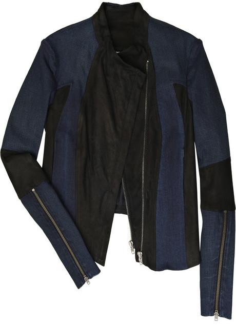 Helmut Lang Worker Dark leather and denim jacket