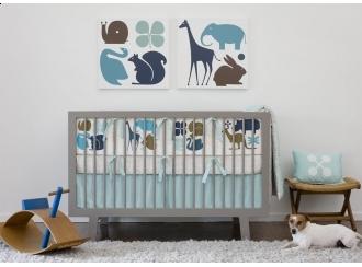 DwellStudio Baby Crib Bedding - Gio In Aqua