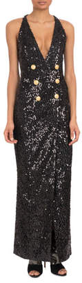 Balmain Sleeveless Deep-V Six-Button Paillettes Sequin Evening Gown