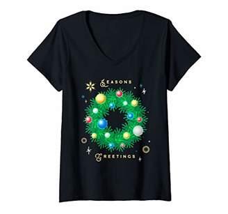 Womens Seasons Greetings Vintage Retro Christmas Gift V-Neck T-Shirt