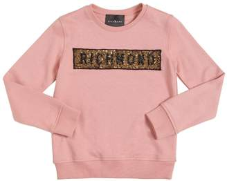 John Richmond Logo Sequined Cotton Sweatshirt