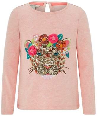 Monsoon Girls Children Pink Leonie Leopard T-Shirt - Pink