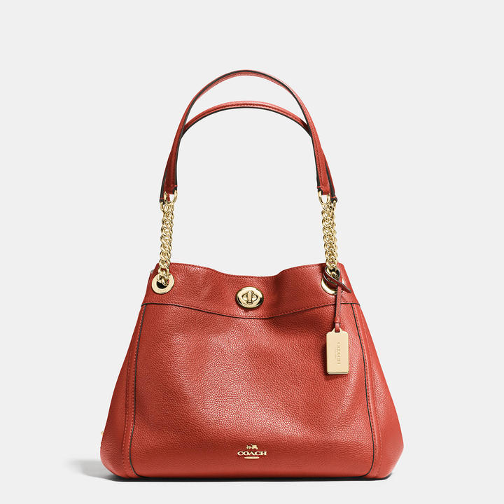 Coach  COACH Coach Turnlock Edie Shoulder Bag In Polished Pebble Leather