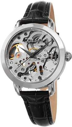 Akribos XXIV Silver Tone Casual Automatic Watch With Leather Strap [AK1037BR]