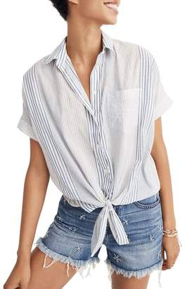 Madewell Stripe Tie Front Short Sleeve Shirt
