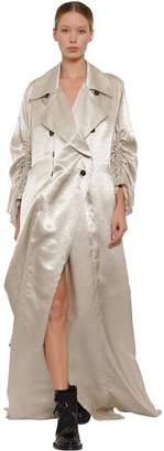 Ann Demeulemeester Long Double Breasted Satin Trench Coat