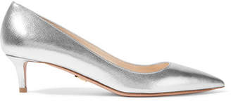 Prada Metallic Textured-leather Pumps - Silver