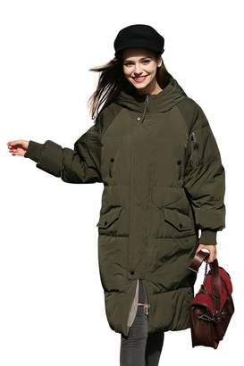 you.u Winter Coat Women Anorak Long Puffer Down Coat Thick Snow Waterproof Coat Bubble Quilted Cute Coat Warm Over Casual Coat Trendy Designer Coat Fashion Padded Large Coat Knee Length Heavy Coat -M
