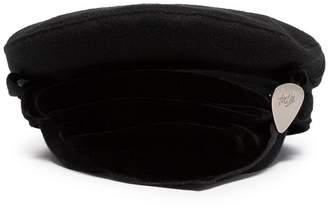 Rockins black velvet scarf detail wool blend hat