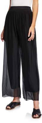 Moda Seta Pleated Sheer Overlay Soft Pants Black