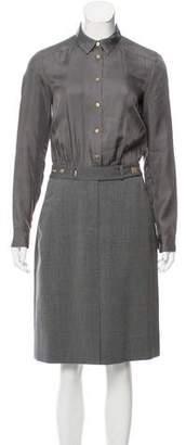 Diane von Furstenberg Silk & Wool Long Sleeve Dress