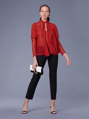 Diane von Furstenberg Short-Sleeve Neck Tie Blouse