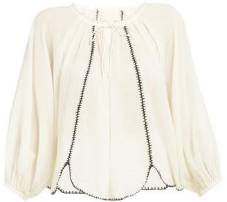 Anaak - Lago Drawstring Neck Cotton Blouse - Womens - Ivory