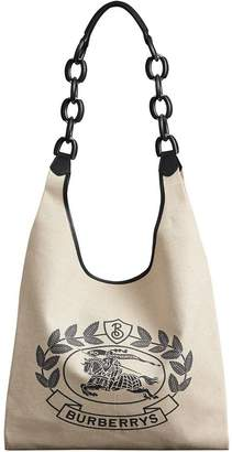 Burberry Medium Archive Logo Canvas and Leather Shopper