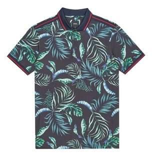 f7d3b01b Burton Mens Navy Floral Polo Shirt With Sleeve Tape
