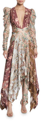 Zimmermann Unbridled Floral Chevron-Panel Silk Dress